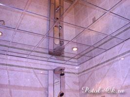 Каркасный зеркальный потолок в ванную комнату