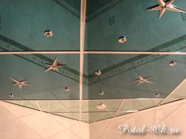 Зеркальный потолок в ванную комнату Звездное небо с подсветкой и звездами